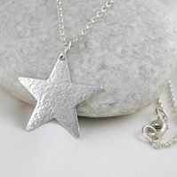 Sterling Silver 20mm Sparkly Textured Star Pendant Necklace 16-24 Inches