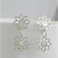 Sterling Silver Hammered Sparkly Textured Open Flower Earrings Handmade