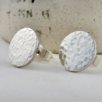 Sterling Silver Hammered Sparkly Textured Round Disc Ear Stud Earrings 10mm