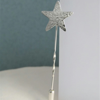 Sterling Silver Hammered Sparkly Textured Star Lapel, Tie Stick Pin, Brooch