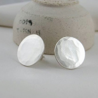 Sterling Silver Hammered Round Disc Ear Stud Earrings 12mm (1.2cm) Handmade