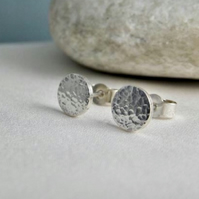 Sterling Silver Hammered Sparkly Textured Round Ear Stud Earrings 7mm Handmade