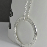 Sterling Silver Sparkly Hammered Circular Pendant Necklace 16-24 inches Handmade