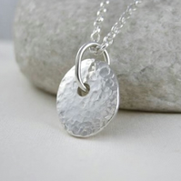 Hand Forged Sterling Silver Sparkly Hammered Pendant Necklace 16-24 Inches