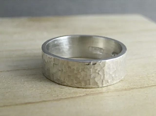 Sterling Silver 6mm Wide Sparky Hammered Ring Sizes H-Z - Handmade