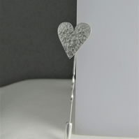 Sterling Silver Sparkly Hammered Heart Lapel, Tie Stick Pin Brooch Free UK Post