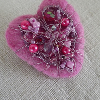 Felt Beaded Heart Corsage