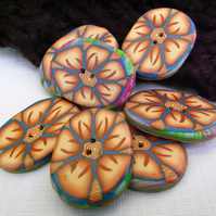 Oval Floral Buttons, Handmade Polymer Clay. Brown and Cream