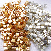 Gold and Silver Square Miyuki Beads