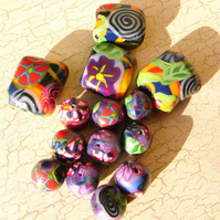 Handmade Polymer Clay Beads Assorted Shapes Multicoloured