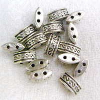 Pewter Metal Spacer Beads with Two Holes