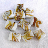 White Beads with Gold and Amber Swirls