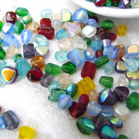 Czech Glass Beads Assorted Colours AB Finish