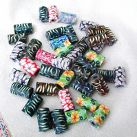 Polymer Clay Tube Beads Multicoloured and Patterned