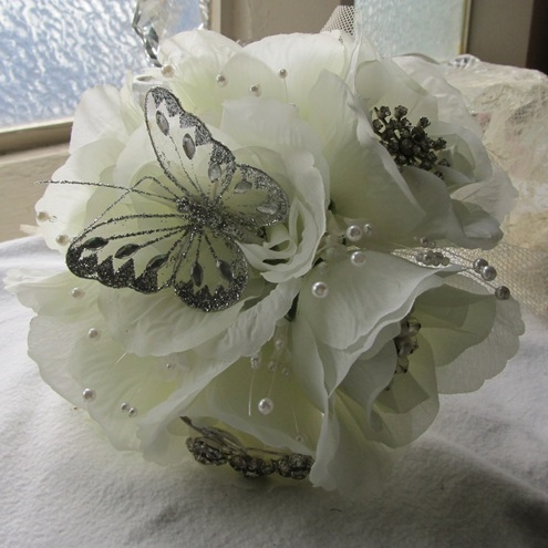 Bridal Bouquet Posy - Vintage Jewellery, Butterfly, Antique White Roses