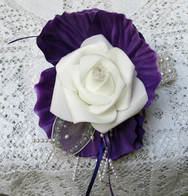 Hand Corsage for Prom http://folksy.com/items/3111834-Wrist-Corsage-Wedding-Prom-or-Party-Cadburys-Purple-Ivory-