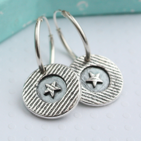Summer Circus (Stars and Stripes) Handmade Silver Earrings