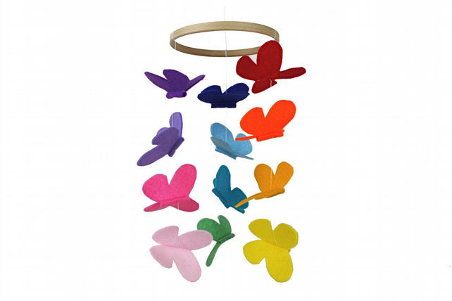 Butterfly Mobile - Rainbow - Modern Nursery Mobile