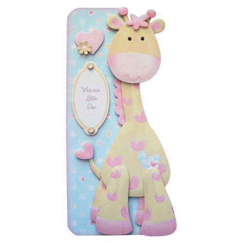 Cuddly Giraffe New Baby 3D Decoupage Card Boy, Girl, Twins, First Birthday