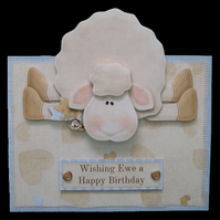 Luxury Handcrafted 3D Decoupage Cute Sheep Birthday Card Wishing Ewe  Happy Bday