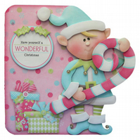 A Wonderful Christmas Card Luxury Handcrafted 3D Decoupage Card Elf & Candy Cane