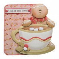 Gingerbread Man Christmas Card Luxury Handcrafted 3D Decoupage Card
