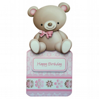 My Cute Teddy Birthday Card Over the Top Handcrafted 3D Decoupage Card Cute Bear