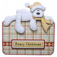 Beary Christmas Polar Bear Christmas Card Luxury Handcrafted 3D Decoupage Card