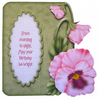 Pink Pansy Birthday Card Luxury Handcrafted 3D Decoupage Card