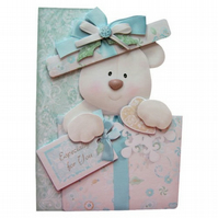 Teddy Bear 3D Decoupage Card with Various Options Birthday Christmas etc