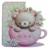 Hug In A Mug Get Well Soon Card Luxury Handcrafted 3D Decoupage &Tea Bag Sachet