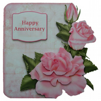 Pink Roses Anniversary Card Luxury Handcrafted 3D Decoupage Card