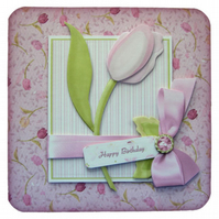 A Tulip for You 3D Decoupage Card with Various Options Birthday Get Well Etc