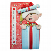 Santa's Little Elf Luxury Handcrafted 3D Decoupage Christmas Card -Yule, Xmas