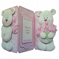 Rose Bouquet TeddyBear Card Luxury 3D Decoupage 3 Panel Birthday Card