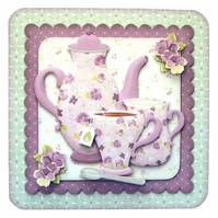 A Cup of Rosy Get Well Soon Card Luxury Handcrafted 3D Decoupage &Tea Bag Sachet