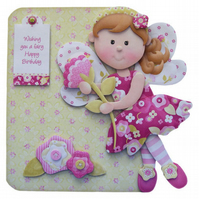 Flower Fairy Girl's Birthday Card Luxury Handcrafted 3D Decoupage Card