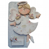 Christmas Angel Christmas Card Luxury Handcrafted 3D Decoupage Card