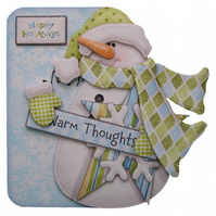 Snowman Christmas Card Luxury Handcrafted 3D Decoupage Card