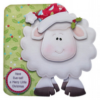 Adorable Amusing Sheep Christmas Card Christmas Greetings to Ewe 3D Decoupage