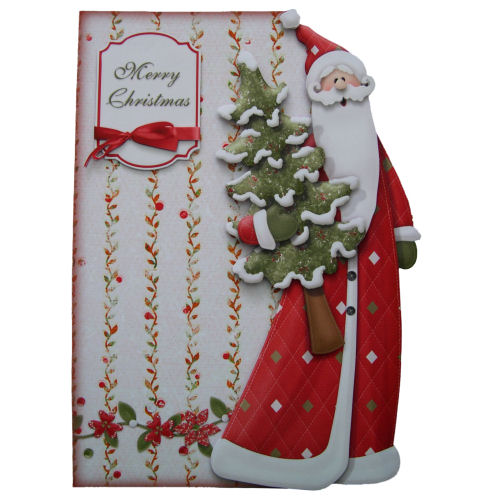Traditional Santa in Red Christmas Card 3D Decoupage with Matching Envelope