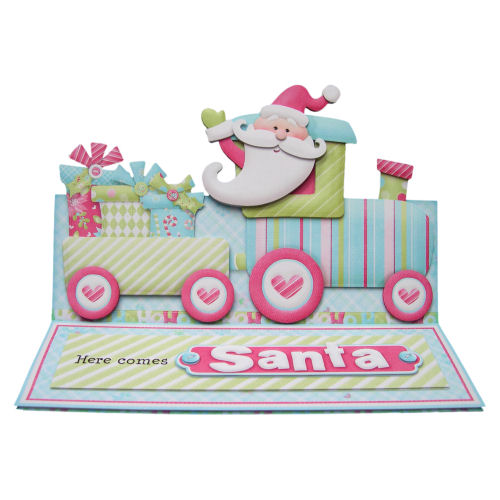 Santa's Train Easel Christmas Card 3D Decoupage with Matching Envelope
