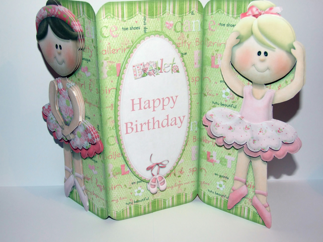Girl's Ballet Birthday Card 3D Decoupage 3 Panel Can be Personalised With a Name