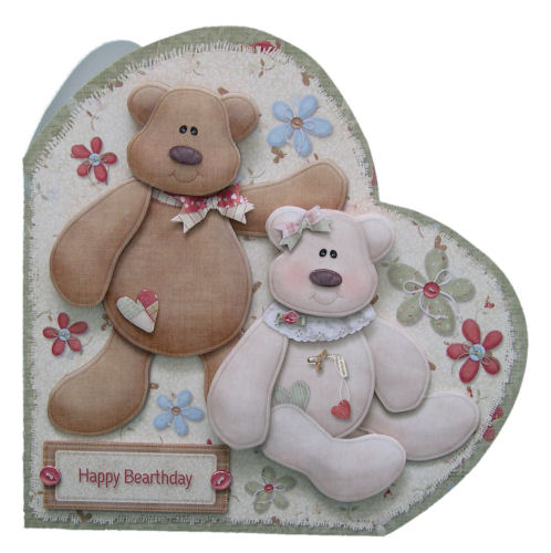 Birthday Bears Happy Bearthday Handcrafted 3D Decoupage Heart Shaped Card