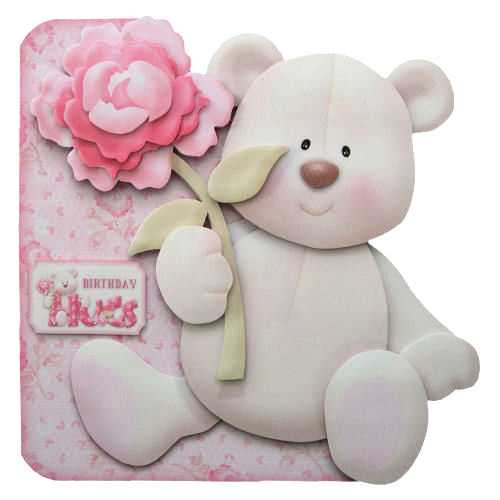 Birthday Hugs Handcrafted 3D Decoupage Greetings Card Teddy Bear with Rose