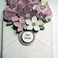 Birthday Card Flower Filled Envelope 3D Decoupage Card