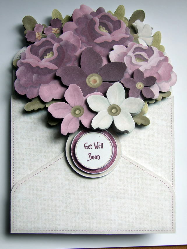 Get Well Card Flower Filled Envelope 3D Decoupage Card Get Well Soon