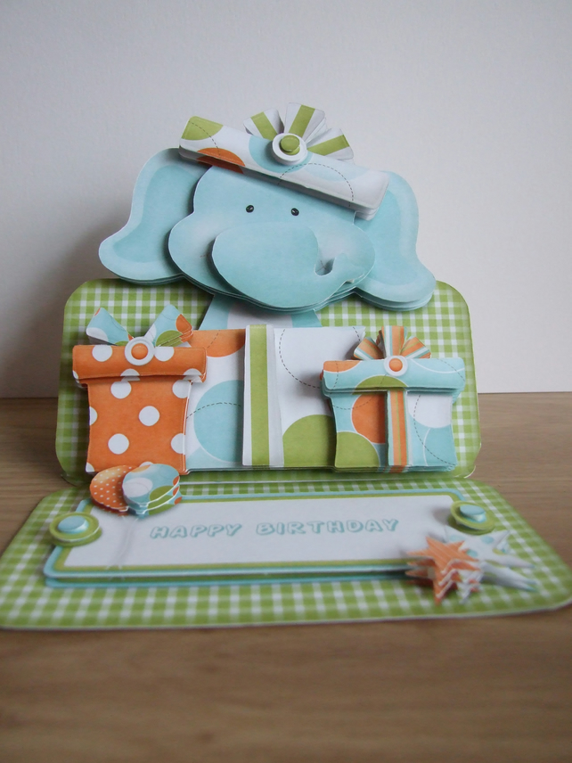 Birthday Elephant Handcrafted 3D Decoupage Easel Card Any Age Any Gender