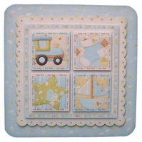 New Baby Boy Rounded Corner 3D Decoupage Card Birth Card Baby Shower