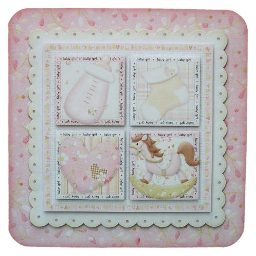 New Baby Girl Rounded Corner 3D Decoupage Card Birth Card Baby Shower